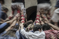 Castellers. Human tower from Girona (Catalonia Royalty Free Stock Images