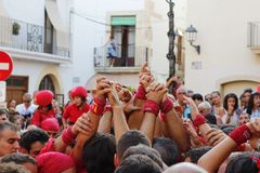 Castellers i Catalonia Royaltyfri Bild