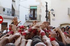 Castellers i Catalonia Arkivfoton