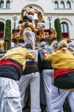 Castellers i firaarrop Badalona Arkivfoton