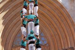 Castellers i Tarragona Arkivbilder