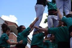 Castellers mänskligt torn från Catalonia, Spanien Arkivfoto