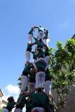 Castellers mänskligt torn från Catalonia, Spanien Arkivbilder