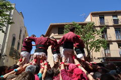 Castellers mänskligt torn från Catalonia, Spanien Arkivbild