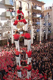 Castellers menselijke torens Royalty-vrije Stock Foto