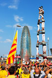Castellers performing Castells in National Day of Catalonia Royalty Free Stock Photo