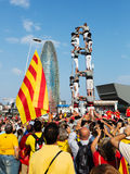 Castellers performing Castells in National Day of Catalonia Stock Photography
