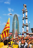 Castellers performing Castells in  National Day of Catalonia Stock Photo