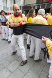 Castellers, placing the belt Stock Image