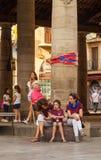 Castellers rodzinny odpoczywać przy Porxada, Granollers zdjęcia stock