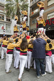 Castellers, several towers of one Stock Photos
