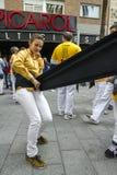 Castellers som placerar bältet Royaltyfri Foto
