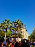 Castellers, torre humana em Castelldefels, Espanha imagem de stock