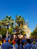 Castellers, torre umana in Castelldefels, Spagna fotografia stock