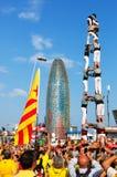 Castellers utförande Castells i nationell dag av Catalonia Royaltyfri Foto