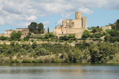 Castellet Castle and Foix dam Stock Image