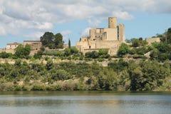 Castellet Castle and Foix dam Stock Image