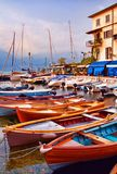 Castelletto di Brenzone. Boats of Castelletto, Italy in the sunset evening light Stock Photo