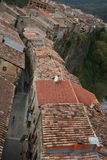 Castellfollit de la Roca. Catalunya. Sightseings of the town roofs from the church tower Stock Images