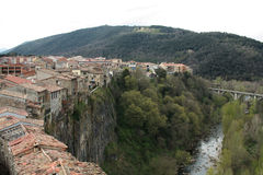 Castellfollit de la Roca. Sightseings in La Garrotxa, Catalunya Royalty Free Stock Image