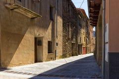 The Castellfollit de la roca, Spain. Narrow streets in Castellfollit de la roca, Spain royalty free stock image