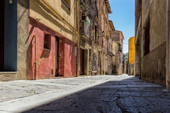 The Castellfollit de la roca, Spain. Narrow streets in Castellfollit de la roca, Spain stock images