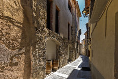 The Castellfollit de la roca, Spain. Narrow streets in Castellfollit de la roca, Spain royalty free stock photo
