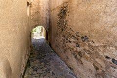 The Castellfollit de la roca, Spain. Narrow streets in Castellfollit de la roca, Spain stock photos