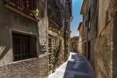 The Castellfollit de la roca, Spain. Narrow streets in Castellfollit de la roca, Spain royalty free stock photos