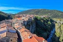 Castellfollit en la región de Garrocha de Girona Fotografía de archivo libre de regalías