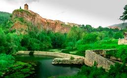 Castellfullit de la Roca, spanische Stadt in der Provinz von Gerona stockfoto