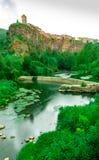 Castellfullit de la Roca, spanische Stadt in der Provinz von Gerona stockfotos