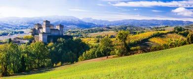 Castelli e wineyards medievali dell'Italia - Castello di Torrechara Immagine Stock Libera da Diritti