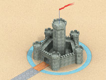 castello 3D Fotografie Stock Libere da Diritti