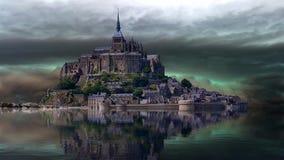 Castello accanto ad un bello lago video d archivio