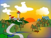 Castello al tramonto Fotografie Stock
