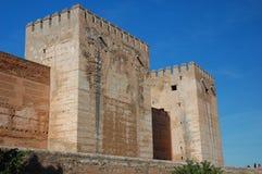 Castello Alcazaba, parte del palazzo di Alhambra Fotografia Stock Libera da Diritti