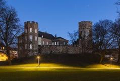 Castello alla notte, Aquisgrana di Frankenberg Immagini Stock