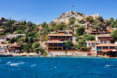 Castello antico di Simena in Demre Adalia Turchia Immagine Stock Libera da Diritti