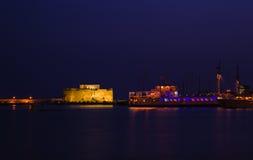 Castello antico in Pafo al tramonto, Cipro Immagini Stock Libere da Diritti