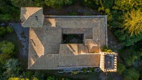 Castello Bibelli på Korfu Grekland elegant villa för 18th århundrade som överges nu royaltyfria bilder