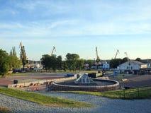 Castello che ricostruisce, Lituania di Klaipeda fotografia stock libera da diritti