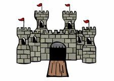 Castello con le bandiere Immagine Stock Libera da Diritti