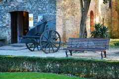 Castello, in Conegliano Veneto, Italy, details. Famous fortress and medieval walls, Castello, details, on Colle di Giano, in Conegliano Veneto, Treviso, in Royalty Free Stock Image