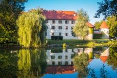 Castello dal fiume Fotografia Stock Libera da Diritti