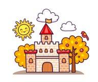 Castello del fumetto con gli alberi di autunno illustrazione di stock