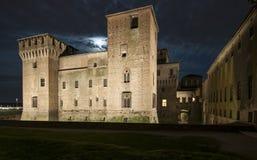 Castello del mantua Lombardia Italia Europa di notte di St George Fotografia Stock