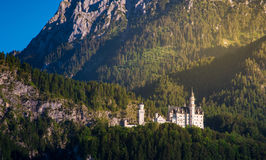 Castello del Neuschwanstein con il Mountain View di estate Fotografia Stock Libera da Diritti