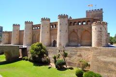 Castello del palazzo di Aljaferia a Zaragoza Spagna Aragon fotografia stock