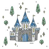 Castello del palazzo e foresta leggiadramente dell'albero - favola magica Fotografia Stock